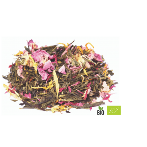 Té verde con aroma caléndula y pétalos de ros